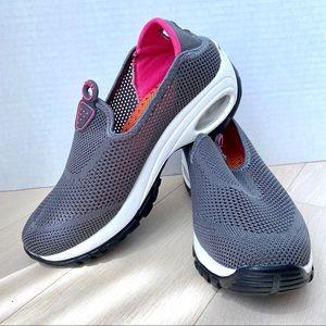 GRAY Pink Mesh Slip-on Athletic Sneakers Walking